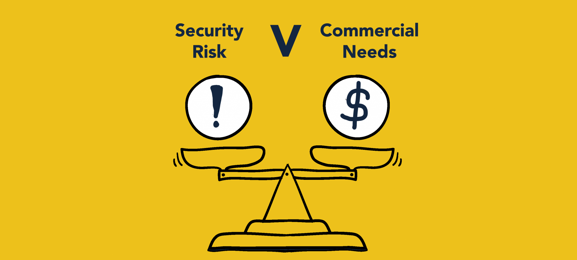 Security risk versus commercial needs balanced against one another on a scale