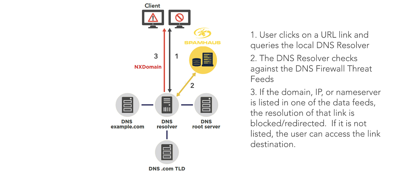 Digram showing How DNS Firewall is configured to protect organizations at the network level.