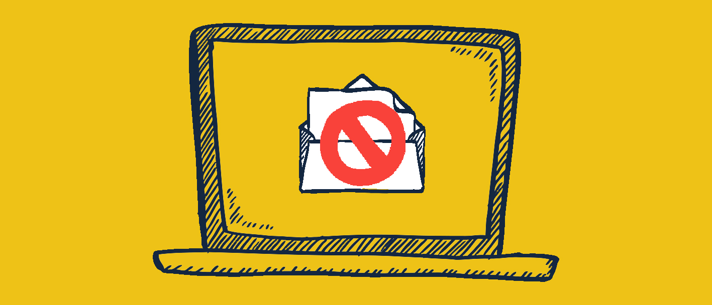 Doodle with computer and open email with a do not enter sign